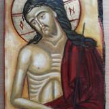 Icoana pe lemn Iisus Hristos, pictura manuala