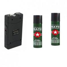 Kit autoaparare format electrosoc si set 2 spray-uri Nato paral