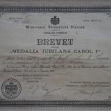 Brevet Medalia Jubiliara Carol I , 1906 , unui lucrator la Caile Ferate Romane