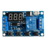 modul releu cu timer dc 6-30V micro usb 5v fisaj display led 6V 9V 12V 24V