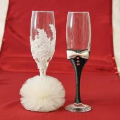 Pahare nunta mire si mireasa cu tulle si dantela P27F