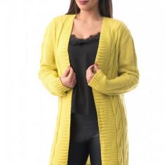 X736-9 Cardigan lung cu material tricotat si maneci lungi