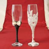 Pahare miri nunta mire si mireasa cu dantela P26F