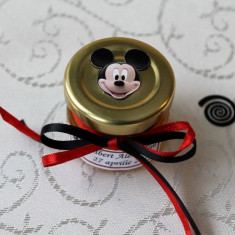 Marturii botez borcanele miere cu Mickey Mouse BB12F