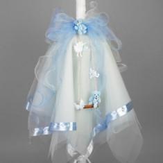 Lumanare botez leagan si figurine bleu LB005