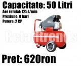Compresor Aer Vopsitor Atelier Service 50 litri 2 Cp 8 Bari 125l/min