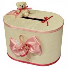 Cutie dar botez ovala cu ursuleti si biberon pentru fetita FB06L-F