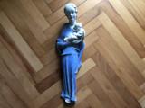 Statueta veche,ceramica emailata,semnata,,fecioara Maria cu pruncul