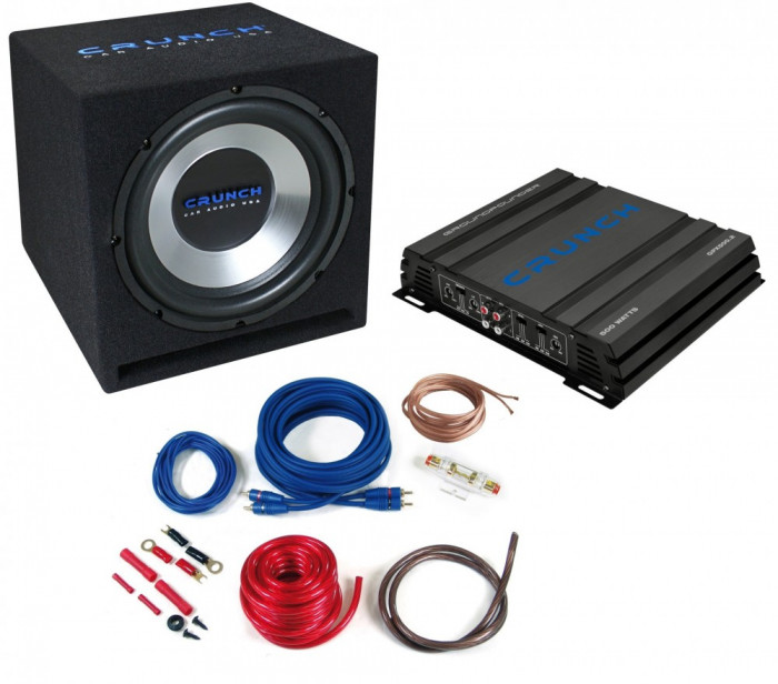 Pachet Bass Auto (Amplificator, Statie + Subwoofer Bass + Kit de Cabluri) Crunch Ground Pounder 750 W 30 cm - BLO-CBP 500