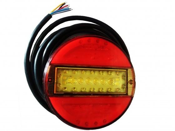 """LAMPA STOP ROTUNDA CU SEMNALIZARE / INDEX """"BANDA"""" 12/24V CU LED, 5 FUNCTII, DIAMETRU 14 cm - ADANCIME 2,5cm CU DISPERSOR ROSIE"""