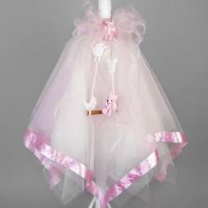 Lumanare botez leagan si figurine roz LB006
