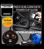Priza dubla Power Cup la bricheta cu tester acum. + USB 12V 4Cars - CRD-4C90793