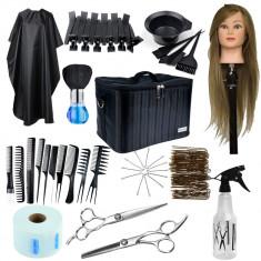 Set kit frizerie coafor foarfeca tuns filat cap practica par natural geanta ace