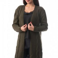 X736-14 Cardigan lung cu material tricotat si maneci lungi