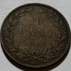 10 Bani 1867 Heaton, Romania VF, Bronz