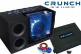 Pachet Bass Auto (Amplificator, Statie + Subwoofer Bass + Kit de Cabluri) Crunch 1000 W 30 cm - BLO-Premium 500 BP Pack
