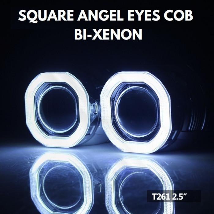 Lupe Bi-Xenon de 2,5 inch cu Angel Eyes patrat, culoare alba (set 2 buc.)