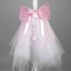 Lumanare botez fete cu rochite crosetate LB016