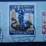 Set timbre Danzig cu stampila expert pe spatele fragmentului, Stampilat