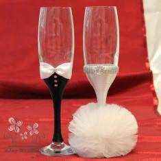 Pahare nunta decorate mire si mireasa P12F