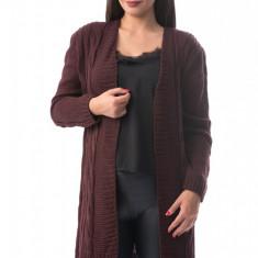 X736-81 Cardigan lung cu material tricotat si maneci lungi