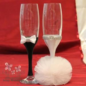 Pahare nunta decorate mire si mireasa P13F