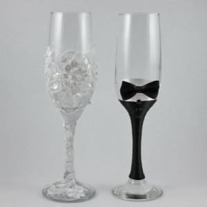 Pahare nunta mire si mireasa cu tulle si dantela alb negru PN006
