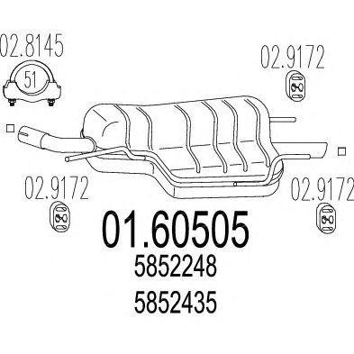 Toba esapament finala Opel Astra G (f48_, F08_) 1.6 16V 1.8 MTS - 01.60505
