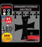 Ornament interior cu leduri 24V - Cruce - Albastru - CRD-LAM98550