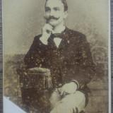 Portret barbat// CDV Fotografia Noua C.P. Zilopolos Bucuresci, Portrete, Romania 1900 - 1950
