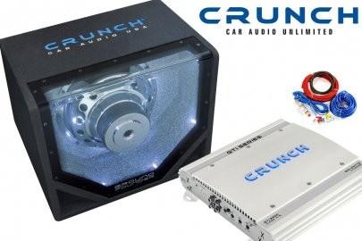 Pachet Bass Auto (Amplificator, Statie + Subwoofer Bass + Kit de Cabluri) Crunch 800 W 25 cm - BLO-Performance BP Pack
