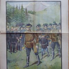 Ziarul Universul Literar ,nr. 28 , 1902 , Defilare la Sinaia , cromolitografie