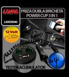 Priza dubla Power Cup 3 in 1 la bricheta tester acum. + USB 12V - CRD-LAM39040