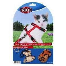 Ham cu lesă și jucării, pentru pisici - roșu