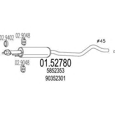 Toba esapamet intermediara Opel Astra F 1.4 i MTS - 01.52780 foto