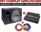 Set amplificare auto, Subwoofer + Amplificator + Kit Cabluri 160W RMS