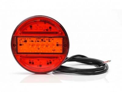 """LAMPA STOP ROTUNDA CU SEMNALIZARE / INDEX """"BANDA"""" CU LED 12/24V -14cm - 2,5cm CU DISPERSOR ROSU INCHIS foto"""