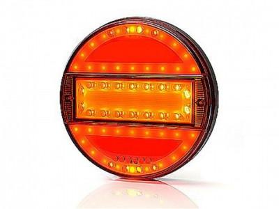 """LAMPA STOP ROTUNDA CU SEMNALIZARE / INDEX """"BANDA"""" 12/24V CU LED, 3 FUNCTII, DIAMETRU 14 cm - ADANCIME 2,5cm CU DISPERSOR ROSIE foto"""
