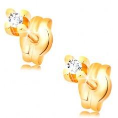 Cercei cu diamant, din aur galben de 14K - diamant rotund și transparent, 1,5 mm