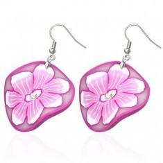 Cercei FIMO - floare albă şi roz