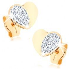 Cercei realizați din aur galben de 9K - inimă simetrică, lucioasă cu o jumătate strălucitoare
