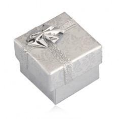 Cutie de cadou - trandafiri argintii, panglică argintie, 40 mm