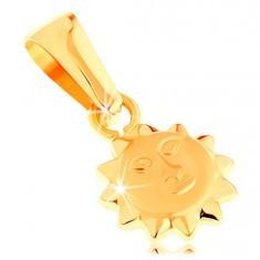 Pandantiv din aur galben de 14K - soare lucios proeminent cu față mată