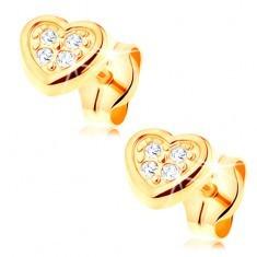 Cercei din aur galben de 14K - inimă simetrică decorată cu zirconii transparente