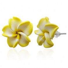 Cercei FIMO - floare albă şi galbenă