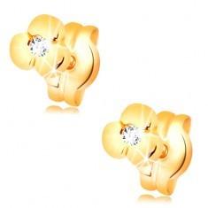 Cercei aur 585 - floare lucioasă cu diamant transparent