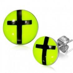 Cercei din oţel, cu şurub - cruce latină într-un cerc