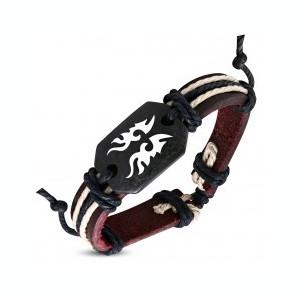 Brăţară din piele – maro, simbol tribal
