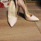 Pantofi, 36, Crem, Cu toc