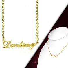 Colier auriu din oțel 316L, lanț și pandantiv - litere Darling